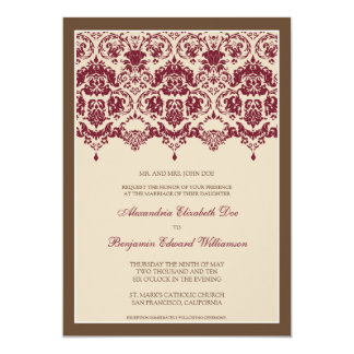Darling Damask Lace 5x7 Wedding Invitation: berry Card
