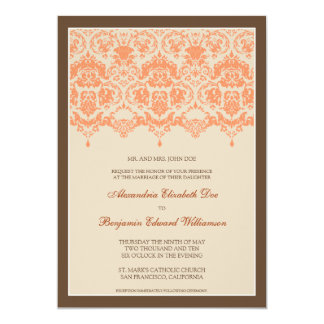 "Darling Damask Lace 5x7 Wedding Invitation: coral 5"" X 7"" Invitation Card"