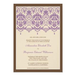 Darling Damask Lace 5x7 Wedding Invitation: lilac 13 Cm X 18 Cm Invitation Card