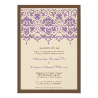 Darling Damask Lace 5x7 Wedding Invitation: lilac Card