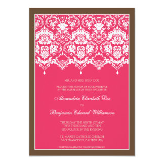 Darling Damask Lace 5x7 Wedding Invitation: pink Card