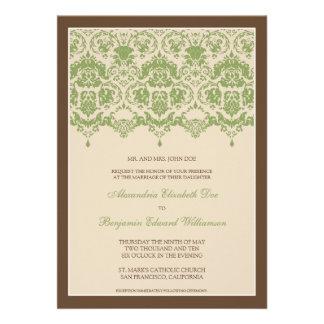Darling Damask Lace 5x7 Wedding Invitation sage