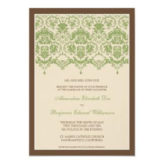 "Darling Damask Lace 5x7 Wedding Invitation: sage 5"" X 7"" Invitation Card"
