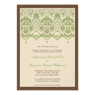 Darling Damask Lace 5x7 Wedding Invitation: sage Card