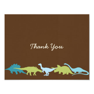 "Darling Dinosaurs Thank You Card 4.25"" X 5.5"" Invitation Card"