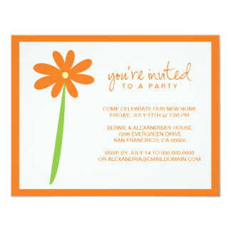 Darling Flower Party Invitation (Orange)