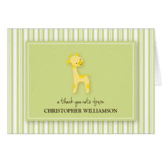 Darling Giraffe Kids Thank-You Card (green)