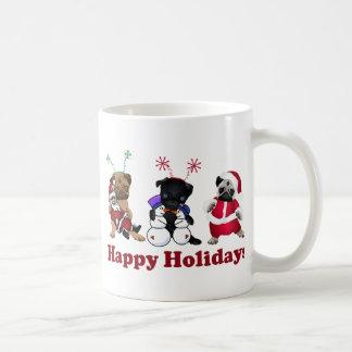 Darling Holiday Pug Celebrating Christmas Basic White Mug