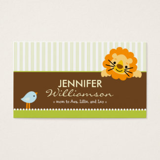 Darling Lime Lion & Birdie Mommy Calling Card