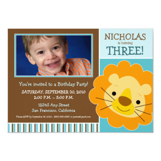 Darling Lion Boys Birthday Party Invite (aqua)