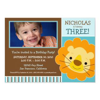 Darling Lion Boys Birthday Party Invite (aqua)