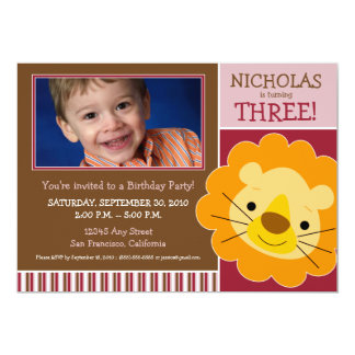 Darling Lion Boys Birthday Party Invite (maroon)