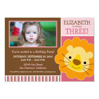 Darling Lion Girls Birthday Party Invite (pink)
