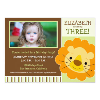 Darling Lion Girls Birthday Party Invite (sage)