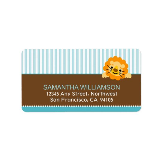 Darling Lion Return Address Labels (aqua)