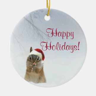 Darling little chipmunk animal Christmas Ornament