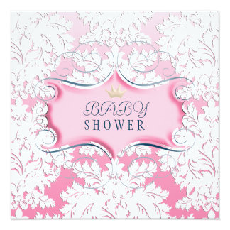 Darling Pink Frame with Pink Damask 13 Cm X 13 Cm Square Invitation Card