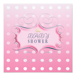 Darling Pink Frame with Pink Polka Dots 5.25x5.25 Square Paper Invitation Card