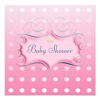 Darling Pink Frame with Pink Polka Dots Invites