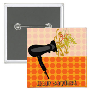 Darling Retro Hair Stylist Salons 15 Cm Square Badge