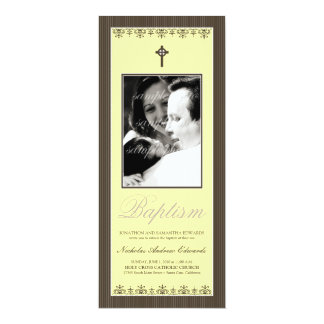 "Darling Victorian 4x9.25"" Lemon Baptism Invitation"