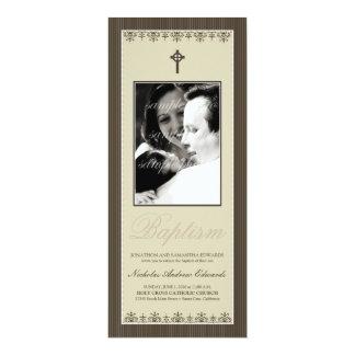 "Darling Victorian 4x9.25"" Sepia Baptism Invitation"