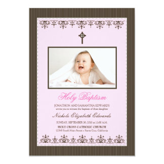"Darling Victorian 5x7"" Pink Baptism Invitation"
