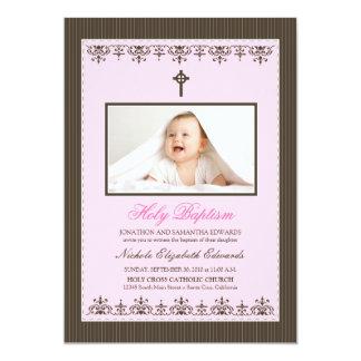 "Darling Victorian 5x7"" Pink Baptism Invitation"