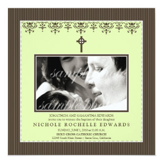 Darling Victorian Lime Green Baptism Invitation