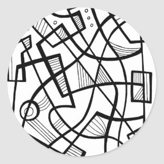 Darrin Abstract Expression Black and White Round Sticker