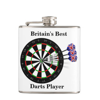 Dart Board And Darts Britain's Best Darts Player Hip Flask