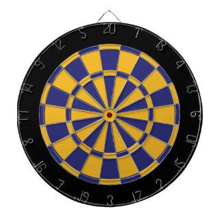 Dart Board: Gold, Navy Blue, And Black Dartboard