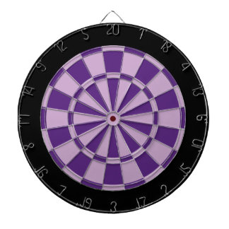 Dart Board: Light Purple, Dark Purple, And Black Dartboard With Darts