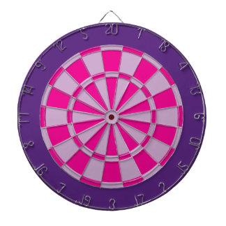Dart Board: Light Purple, Pink, And Dark Purple Dartboard With Darts