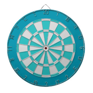 Dart Board: Light Silver, Turquoise, And Teal Dartboard