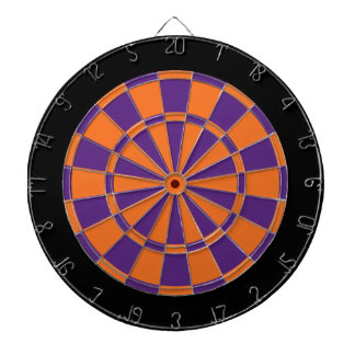 Dart Board: Orange, Purple, And Black Dartboard With Darts