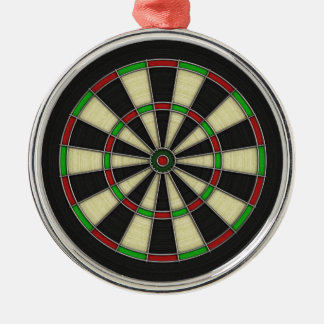 Dart Board Pattern. Stylish, Perfect Hobbies Gift. Silver-Colored Round Decoration
