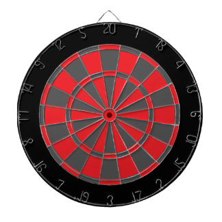 Dart Board: Red, Charcoal Gray, And Black Dart Boards