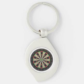 Dart Board Silver-Colored Swirl Key Ring