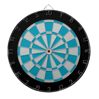 Dart Board: Silver Gray, Teal, And Black Dartboard