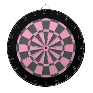 Dart Board: Soft Pink, Grey, And Black Dartboard