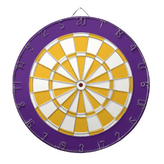 Dart Board: White, Gold, And Purple Dartboard