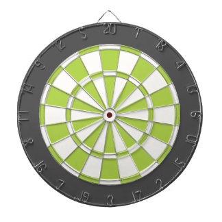 Dart Board: White, Lime, And Charcoal Gray Dartboard
