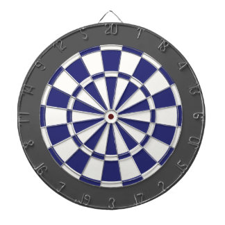 Dart Board: White, Navy Blue, And Charcoal Gray Dart Board