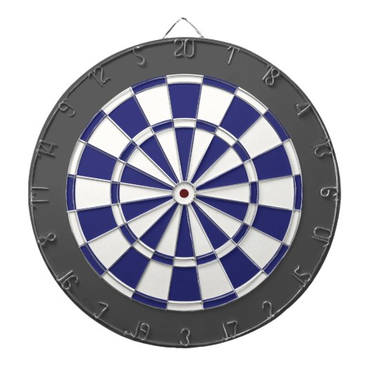 Dart Board: White, Navy Blue, And Charcoal Grey