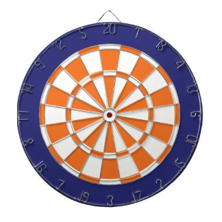 Dart Board: White, Orange, And Navy Blue Dartboard