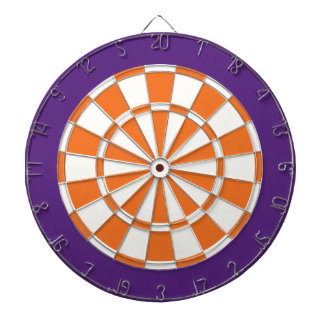 Dart Board: White, Orange, And Purple Dartboard With Darts