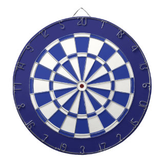 Dart Board: White, Royal, And Navy Blue Dartboard