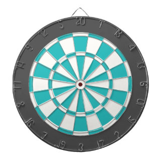 Dart Board: White, Turquoise, And Charcoal Gray Dartboard
