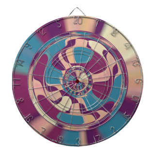 Dart board wired overlay marbled abstract art
